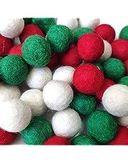 "Misscrafts 90PCS Christmas Felting Balls 2cm/0.78"" Red Green White DIY Felted Pom Pom Balls"