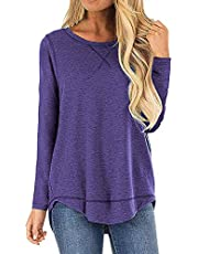 ZEGOLO Women's Fall Long Sleeve Loose Casual Pullover Tunic Tops T Shirts