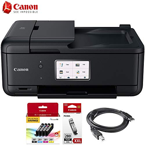 Canon PIXMA TR8520 Wireless Home Office All-in-One Printer with Scanner, Copier & Fax (2233C002) CLI-281 4-Ink Pack + XXL Black Ink Tank + USB Printer Cable