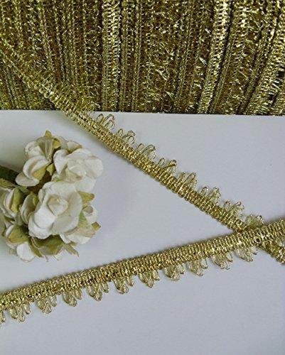 Fringe Trim Sewing 9 MM Fancy Metallic Gold Fringe Venise Ribbon Trims Tape Christmas Designing & Crafts 5 Yards - Fancy Bead Fringe
