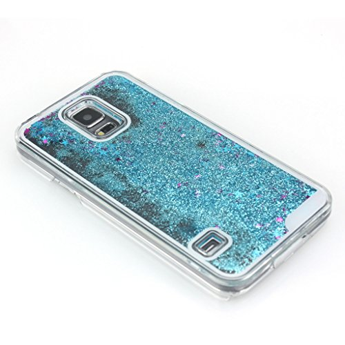 AENMIL Galaxy S5 Glitter Case, Samsung S5 Bling Cover, 3D Bling Quicksand Glitters Stars Liquid Transparent Hard Back Case Cover for Samsung Galaxy S5 i9600(Blue)