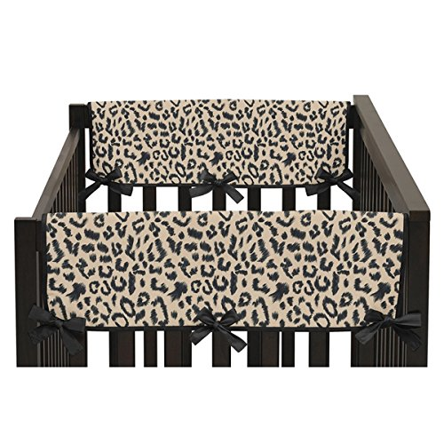 Animal Safari Collection Leopard Print Side Crib Rail Guard Covers (Set of 2)