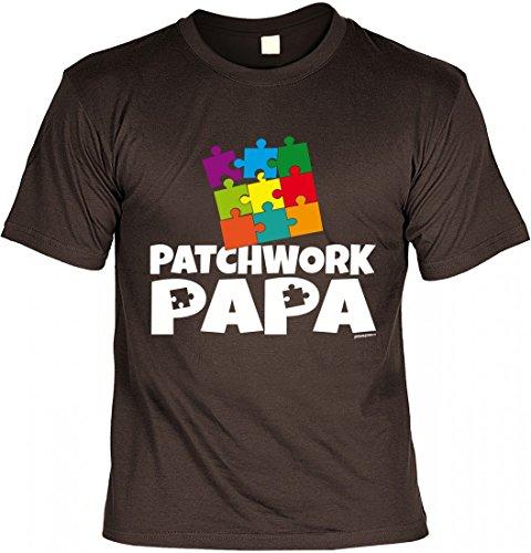 T-Shirt Vater - Patchwork Papa - Geschenk Idee mit Humor zum Vatertag oder Geburtstag - braun