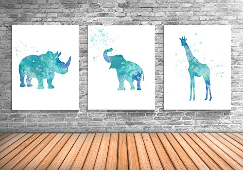 Animal Wall Decor, Elephant, Giraffe, Rhino, African Animal Art Prints