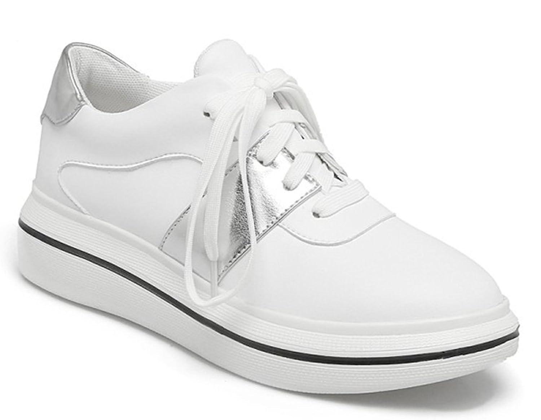 SHOWHOW Damen Retro Glitzer Lack Schnürsenkel Damenschuh Sneakers Weiß 46 EU ptgKmEx61r