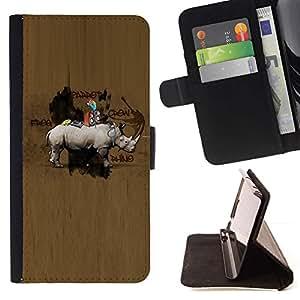 For Apple iPhone 5C Case , Modelo de madera Animal Hunter Marrón- la tarjeta de Crédito Slots PU Funda de cuero Monedero caso cubierta de piel