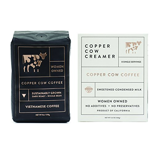 Copper Cow Vietnamese Whole Bean Coffee – Dark Espresso Roast – 100% Ethically Sourced & Sustainably Grown (8 oz Bag)
