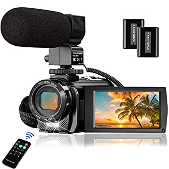 Image of Video Camera Camcorder with Microphone, Aasonida YouTube Vlogging Camera FHD 1080P 30FPS 24MP 16X Digital Zoom,Digital Camera Webcam Recorder with Remote Control, 3' 270° Rotation Screen,2 Batteries Camcorders