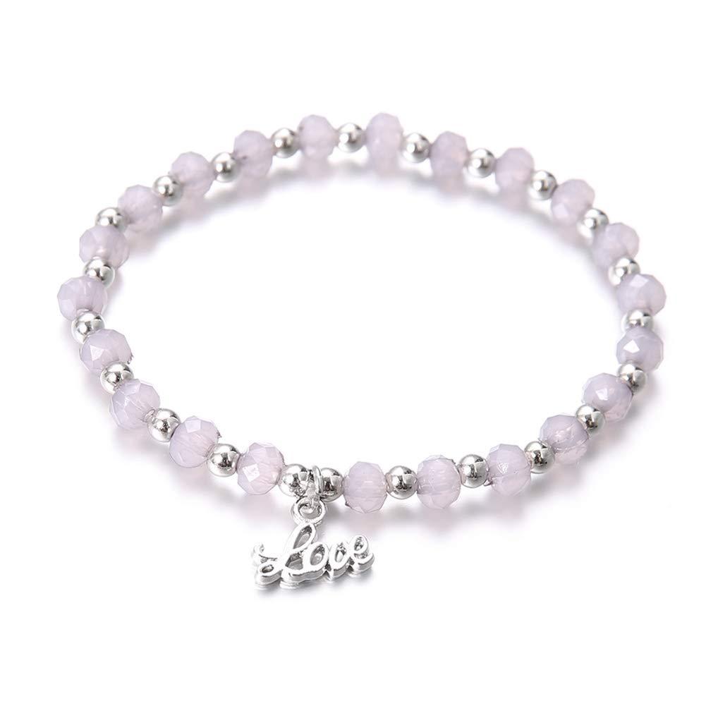 Silver Yaoyodd19 4Pcs//Set English Letter Love Hollow Heart 8 Charm Beaded Chain Bracelet Jewelry