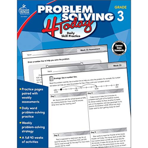 Carson Dellosa - Problem Solving 4 Today: Daily Skill Practice, Math Problem-Solving Activities for 3rd Grade, 96 Pages, Paperback, Ages 8-9 with Answer Key from CARSON DELLOSA