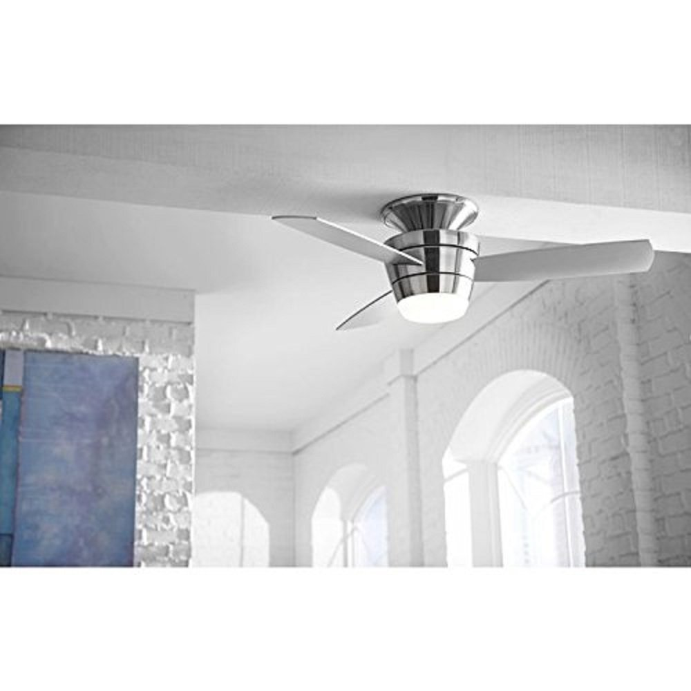 harbor breeze mazon 44 in brushed nickel flush mount indoor ceiling