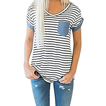 ♥ Camisas Mujer ♥ Ropa de Mujer de Moda Camiseta Tops de Rayas de Manga Corta para Mujer Blusa de Patchwork ♡Xinantime♡ (S, ♝Blanco)