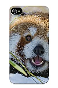 Chapiterq Scratch-free Phone Case For Iphone 4/4s- Retail Packaging - Snow Bamboo Red Panda Winter