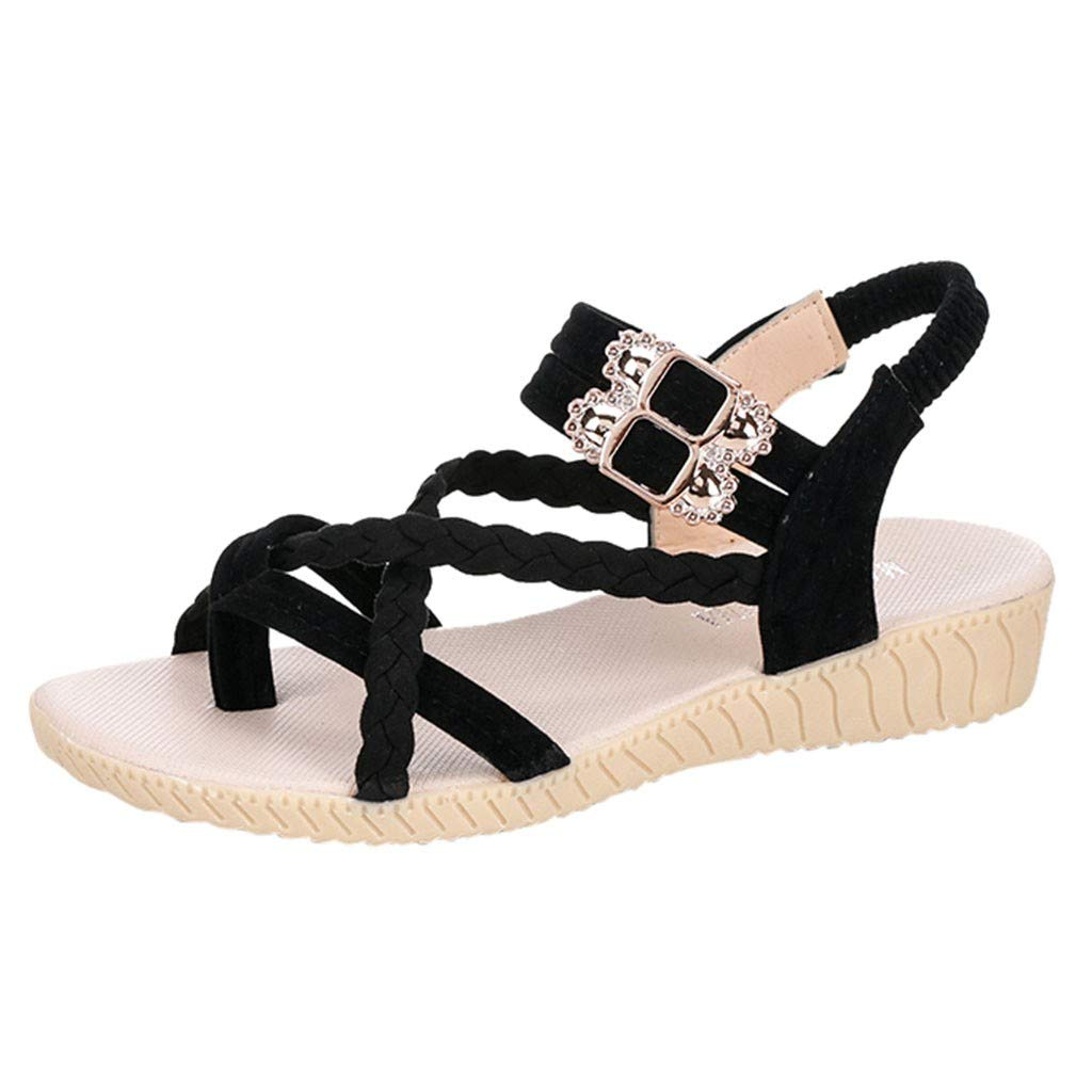 HHei_K Women Summer Pure Color Simple Flat Buckle Strap Rome Shoes Elastic Band Open Toe Students Casual Beach Sandals Black