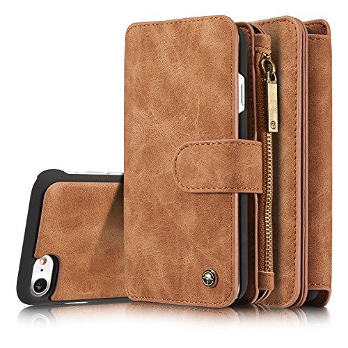 XRPow iPhone 7 Case, iPhone 8 Case 2in1 Detachable Magnetic Detachable Zip Wallet Folio Flip Case with Removable Slim PC Back Cover for Apple iPhone 7 / 8 4.7inch Brown