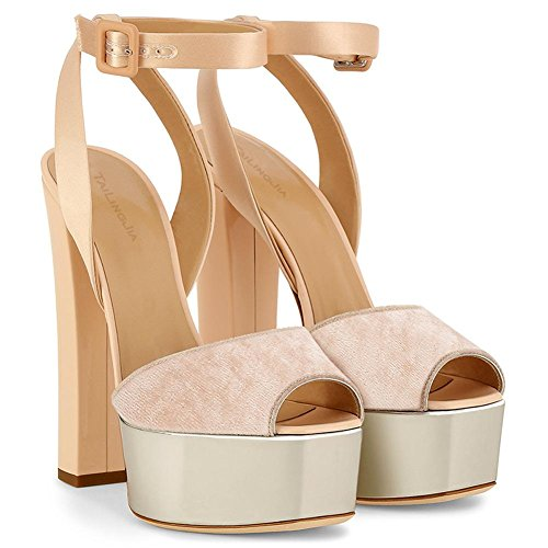 Wedding New Heels YC Party Sandals L Toes Spring Rough With Women's PU Leatherette Nude Peep zqvw10v