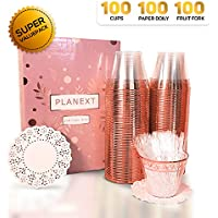 100-Piece Planext Rose Gold Plastic Party Cups with Appetizer Picks & Doilies Paper