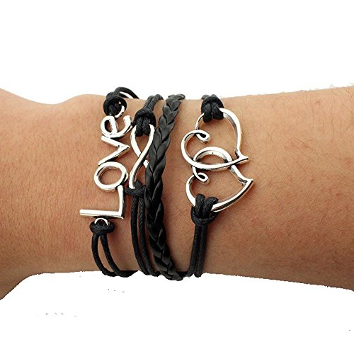 Homemade Braces Costume (Hydne Bracelet Multilayer Braided Friendship Bracelets Charm Bracelets(BlackWhite))