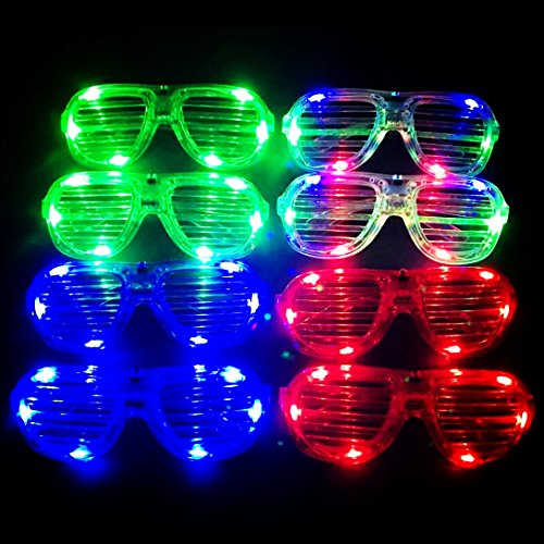 M.best Unisex Fashion Plastic Glow LED Light Up Shades Toy Glasses for Christmas Halloween Wild Clubbing Birthday Party Favors Supplies Set of - Shades M