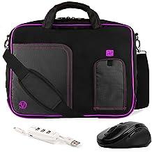 VanGoddy Pindar Purple Plum Trim Messenger Bag w/ USB HUB and Wireless Mouse for MSI Phantom GS30 13inch Gaming Laptop