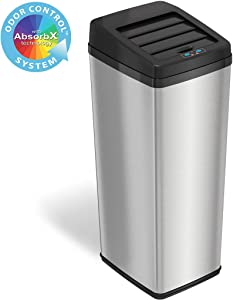 iTouchless 14 Gallon Sliding Lid Automatic Sensor Trash Can with Odor Filter System, 52 Liter Stainless Steel Touchless Kitchen Garbage Bin