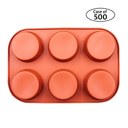 BAKER DEPOT Case of 500pcs, 6 Cavity Round Silicone Mold For Muffin Cupcake, Bread, Handmade Soap