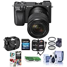 Sony Alpha A6300 Mirrorless Camera Black 18-135mm f/3.5-5.6 OSS Zoom Lens - Bundle 16GB SDHC Card, Camera Case, 55mm Filter Kit, Cleaning KIt, Memory Wallet, Card Reader, Pc Software Package