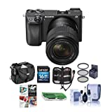 Sony Alpha A6300 Mirrorless Camera Black with 18-135mm f/3.5-5.6 OSS Zoom Lens - Bundle With 16GB SDHC Card, Camera Case, 55mm Filter Kit, Cleaning KIt, Memory Wallet, Card Reader, Pc Software Package
