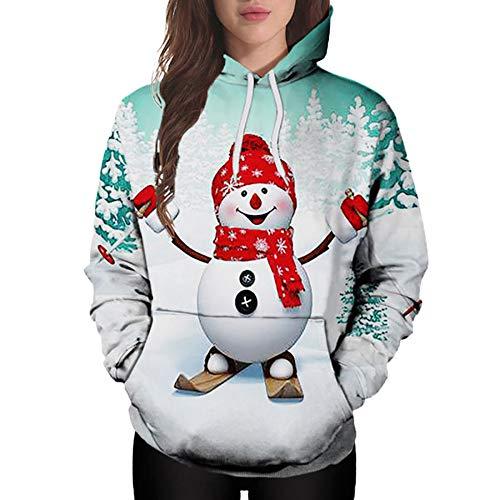 Mysky Merry Christmas Women Cartoon Santa Claus Print Sweatshirt Tops Ladies Casual Pocket Hooded Pullover