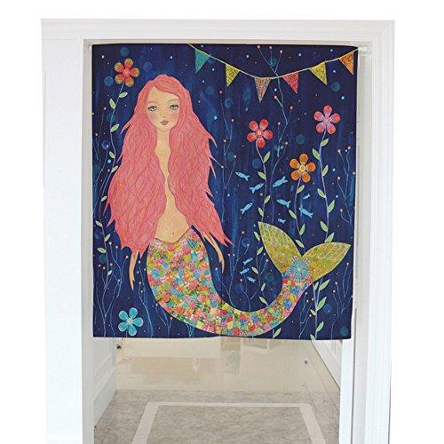 Mermaid Flowers Cotton Linen Japanese Noren Doorway Curtain Tapestry Home Decortaion (31.5
