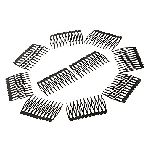 MagiDeal 10 Pieces 10 Teeth Metal Black Wig Combs Hair Pins Clips DIY for Women Beauty