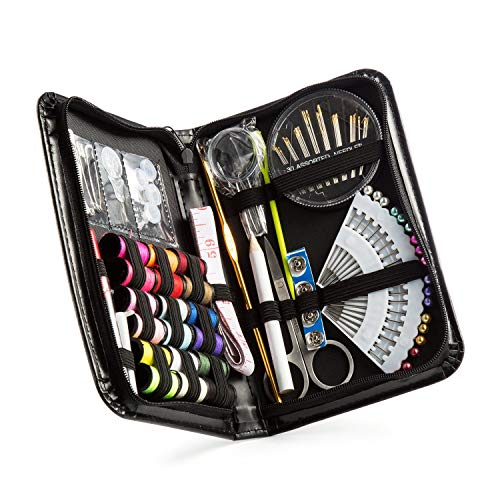 Qisiewell Sewing Kit Travel Emergency Mini Home Office Sewing Supplies Kit 90 Premium Portable Sewing Accessories Kit for Adults Kids Girls Beginners 18 Spools of Thread for Daily Mending