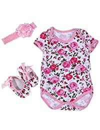 FTVOGUE 2Patterns 3 Sizes 3Pcs/Set Cotton Short Sleeve Baby Jumpsuit with Head Band and Shoes