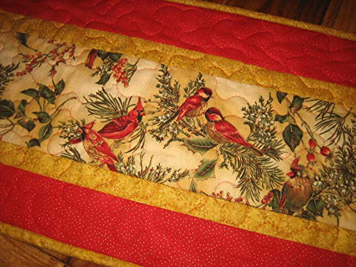 - Quilted Table Runner, Christmas Red Cardinals, 13x48