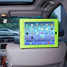 TFY Kids Car Headrest Mount Holder for iPad 4 / iPad 3 / iPad 2 - Detachable Lightweight Shockproof Anti-slip Soft Silicone Handle Case - Green