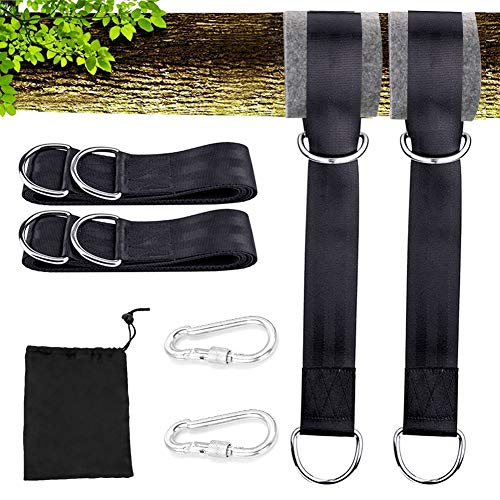 AUKUK Tree Swing Hanging Kit (Set Of 2) Holds 440 LBS Extra Long 15 inche Straps + 2 Tree Protectors + 2 Carabiners Sorage bag Swing Sets,Tree Swings, Hammock & Tire Swing Outdoor goods by AUKUK