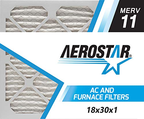 Aerostar 18x30x1 MERV 11, Pleated Air Filter, 18x30x1, Box of 6, Made in The USA
