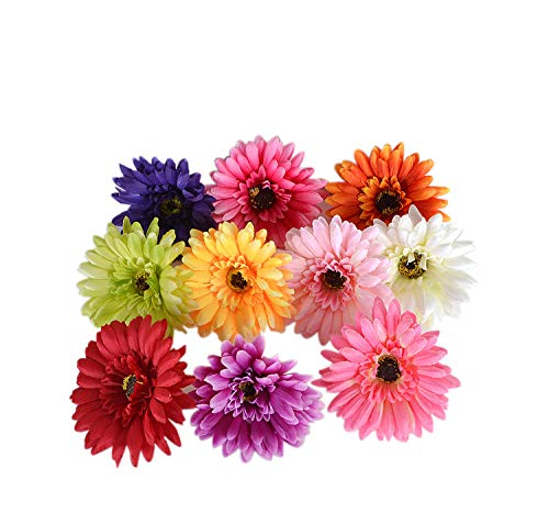 1940s Hairstyles- History of Women's Hairstyles Summer Flower Artificial Silk Chrysanthemum 4 Gerberas Daisy Flower Head Sunflower for Wedding Home Party Decoration Hair Clip Wreath Decorative Pack of 20(Green) $12.99 AT vintagedancer.com