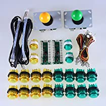 Easyget LED Arcade DIY Parts 2x Zero Delay USB Encoder + 2x 8 Way Joystick + 20x LED Illuminated Push Buttons for Mame Jamma Arcade Project Yellow + Green KitSets