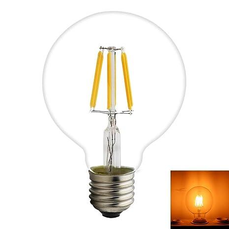 1-Pack LED bombillas de filamento Vintage dorado bombillas G80 globo 6 W E27 500LM