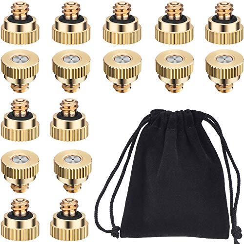 Hestya 0.3 mm Brass Misting Nozzles Low Pressure Mist Nozzle for Outdoor Cooling System Green House Irrigating System (60)