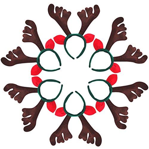 Outgeek 6pcs Reindeer Antlers Headband Christmas Party Headbands for (Reindeer Antler Headbands)