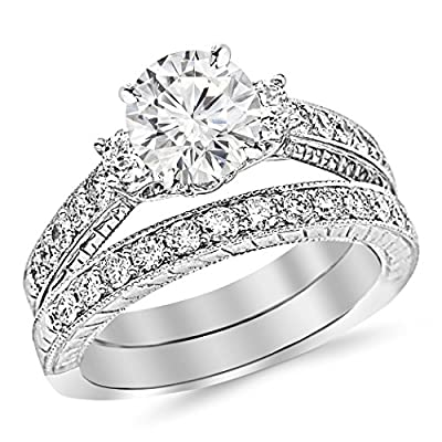 2.23 Carat t.w. Round Three Stone Vintage With Milgrain & Filigree Bridal Set with Wedding Band & Diamond Engagement Ring K I2