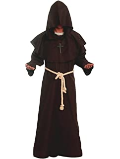 d011a1a1545a4 Friar Medieval Hooded Monk Renaissance Priest Robe Costume Cosplay