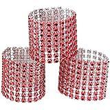 Yalulu 50Pcs faux diamant Ronds de serviette - Cristal Serviettes Porte-serviettes de Serviette Alliage Déco Mariage Banquet- d'Argent (rouge)