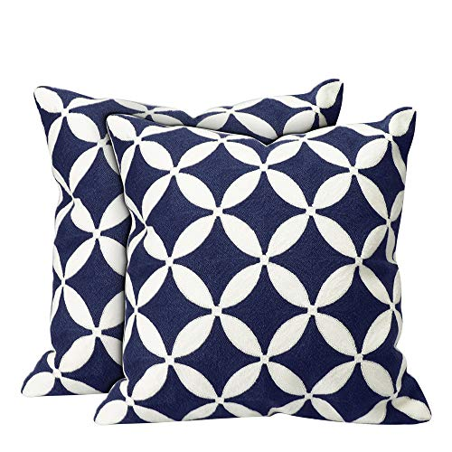 HOMEIDEAS Luxury Decorative Throw Pillow Cover Set - 100% Embroidery Cotton Cushion Case for Sofa,Bedroom,Car (18'' x 18'', Blue) by HOMEIDEAS