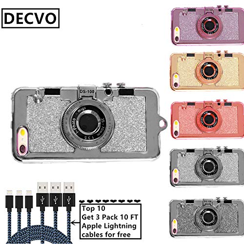 DECVO iPhone 6 Plus 6s Plus case, 3D Cool Vintage Style Bling Camera Design Soft Case PC + Silicone Cover with A Mirror & Long Strap Rope For 4.7