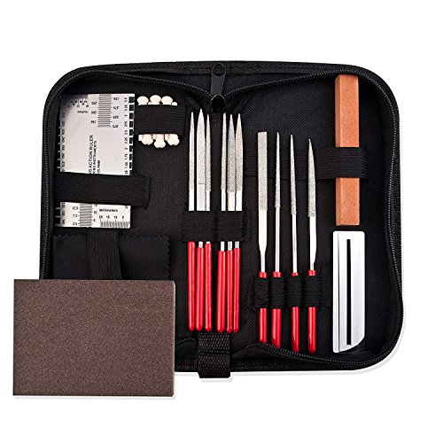 Guitar Repair Tool Kit - Luthier Accessories Setup Maintenance Tools Set for Acoustic Electric & Bass - Guitar Needle File/String Action Ruler Gauge/Grinding stone