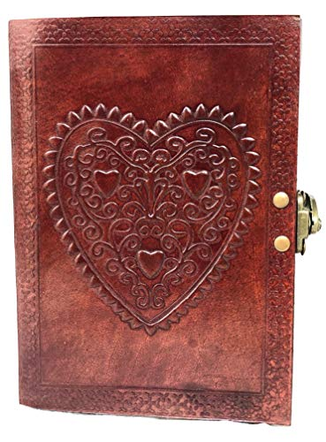 (Vintage Large Heart Leather Journal Embossed Travel Diary Handmade Bound Notebook for Men & Women with Lock Closure (Brown, 75