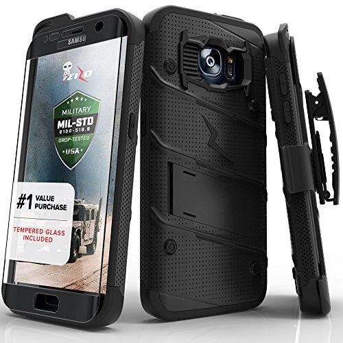 Price comparison product image Samsung Galaxy S7 Edge Case, Zizo [Bolt Series] w/ [Galaxy S7 Edge Screen Protector] Kickstand [Military Grade DropTested] Holster Clip S7 Edge G935